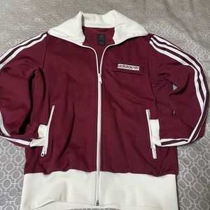 Adidas maroon striped jacket